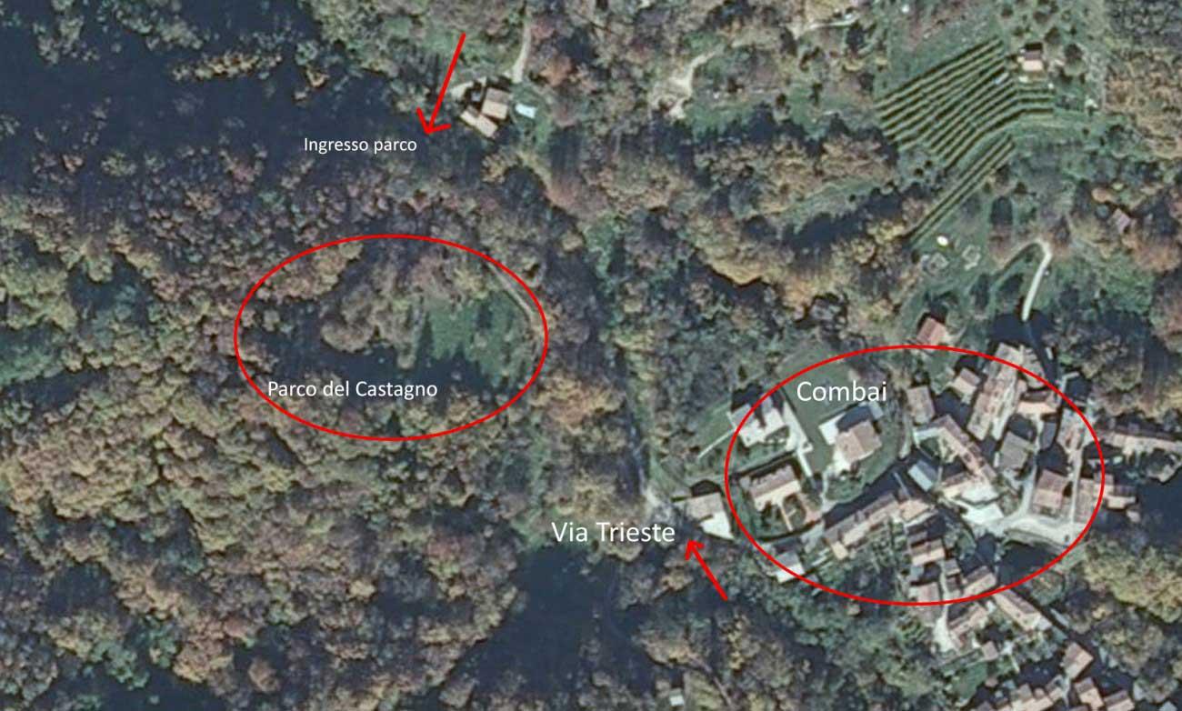 cartina fisica sentiero bosco castagne