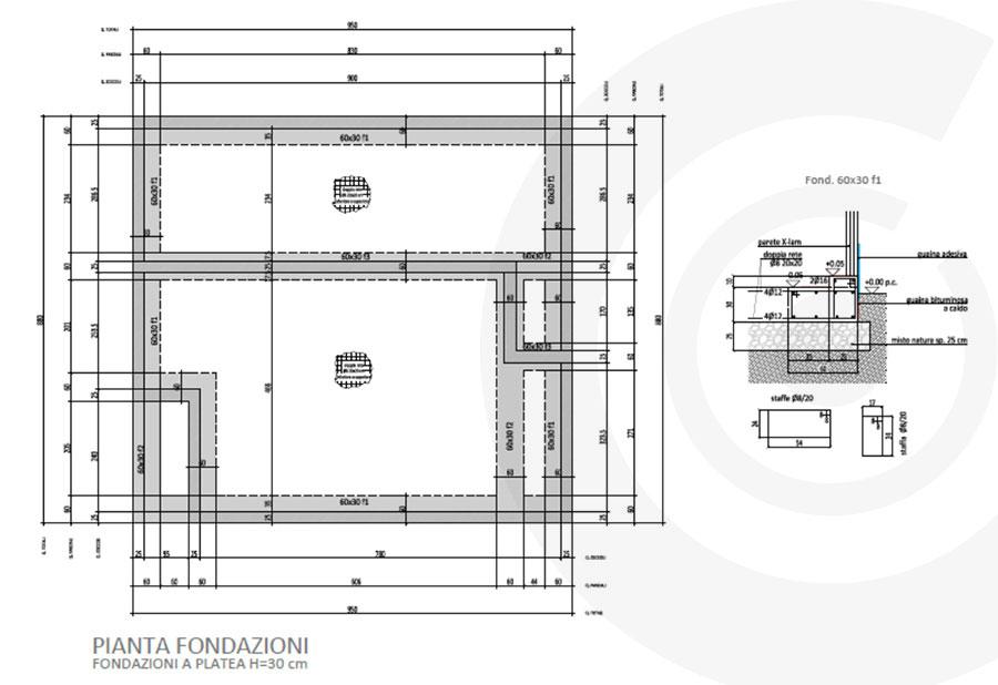 pianta fondazioni casa x lam 687