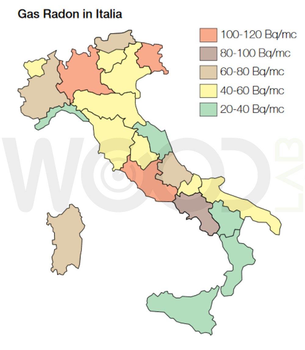 Mappa del gas radon in italia