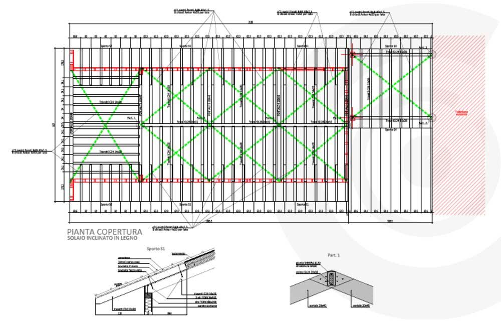 pianta copertura solaio casa di legno telaio