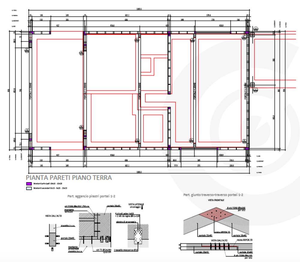 pianta pareti piano terra casa di legno telaio