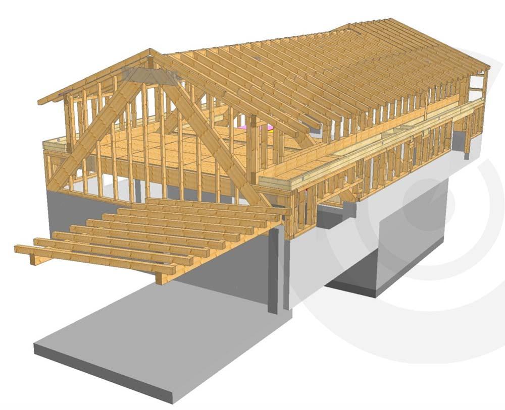 rendering casa di legno a telaio