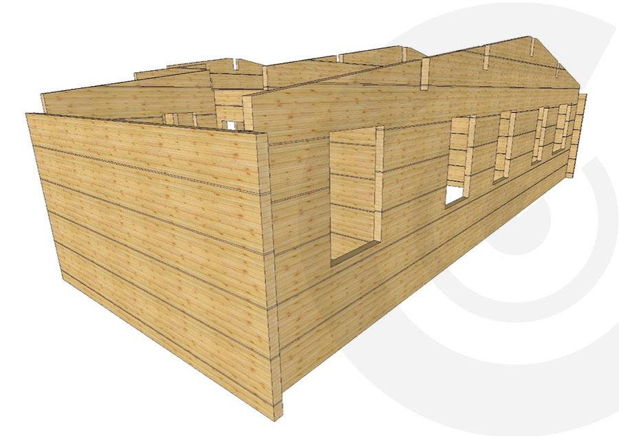 rendering casa di legno