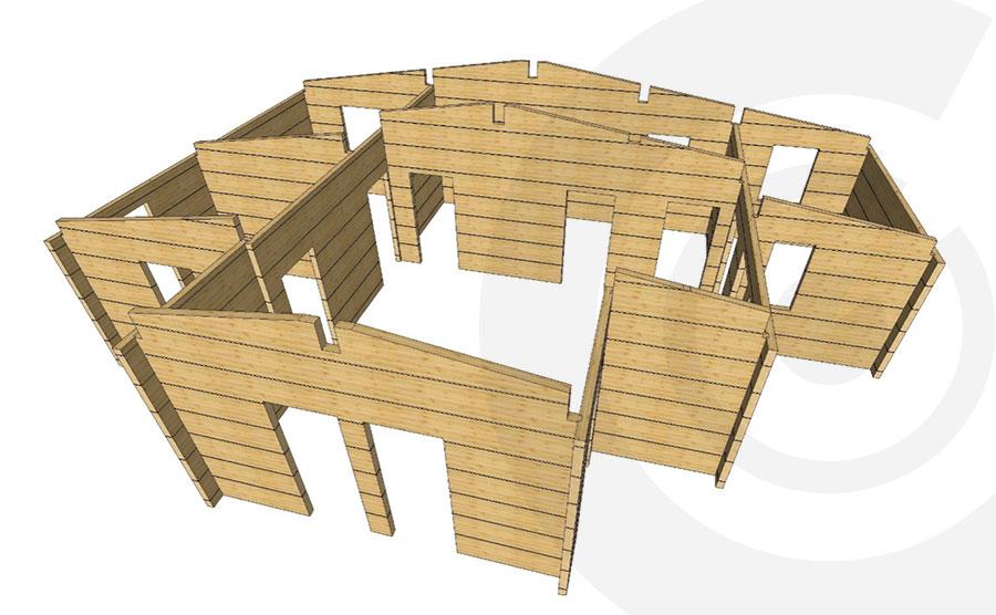 rendering casa legno