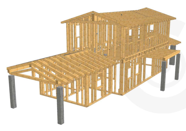struttura legno rendering casa di legno
