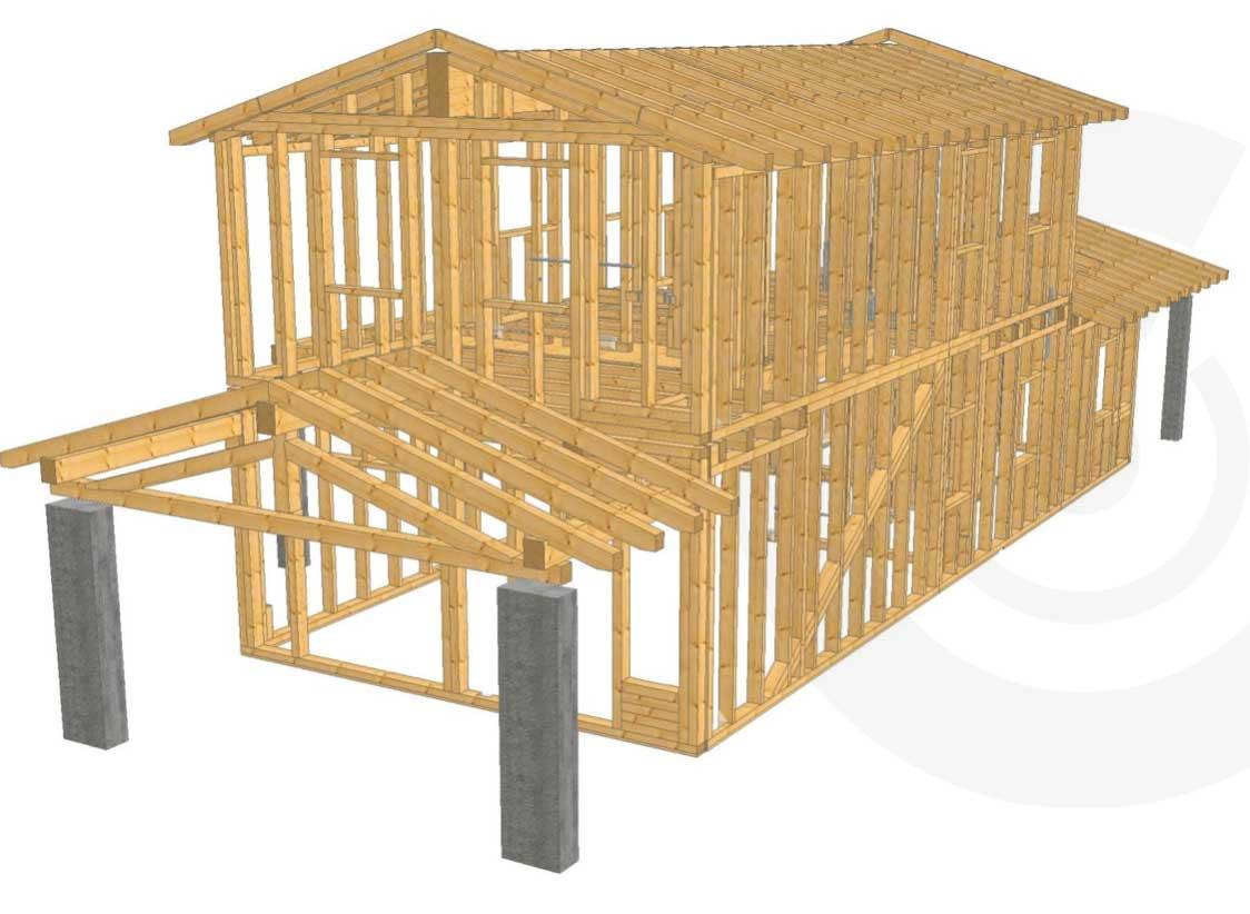 rendering struttura di legno