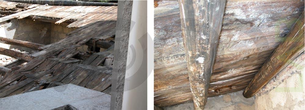 crollo del tetto casa in legno