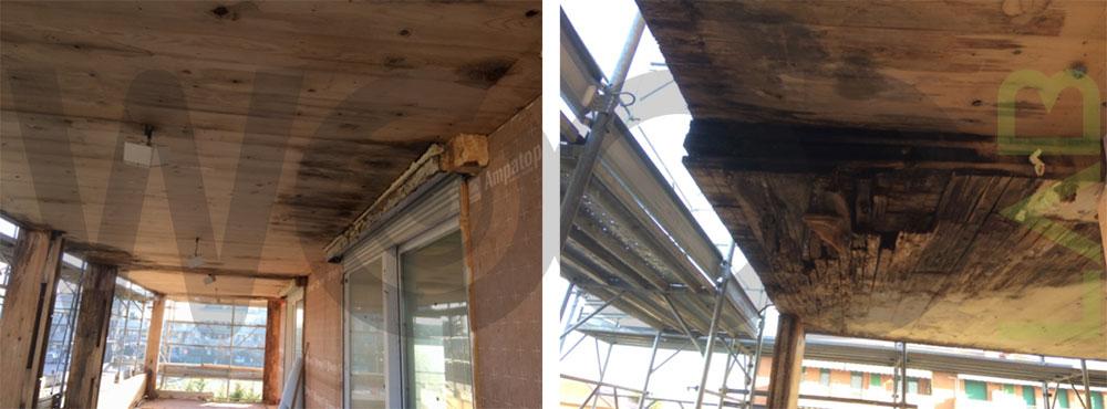 tetto piano marcio casa di legno