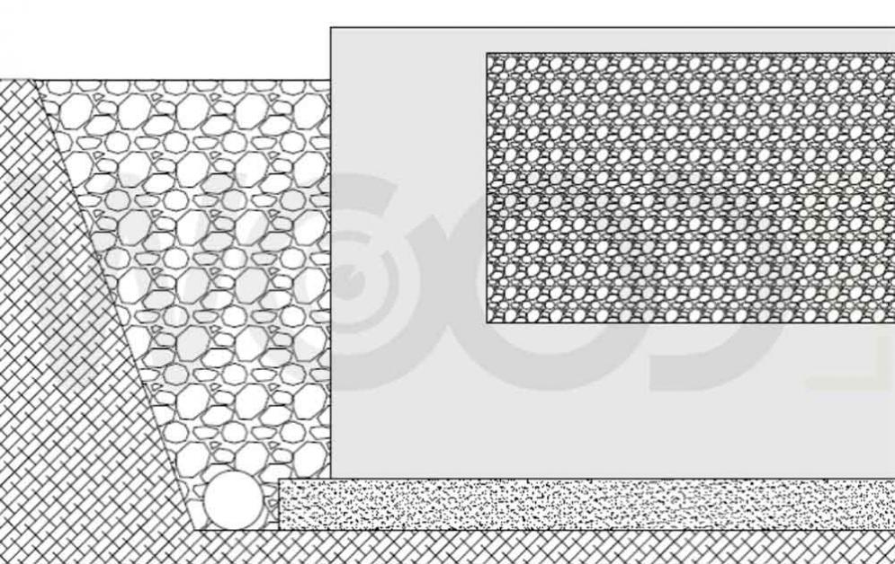 disegno di vespaio riempito con ghiaia