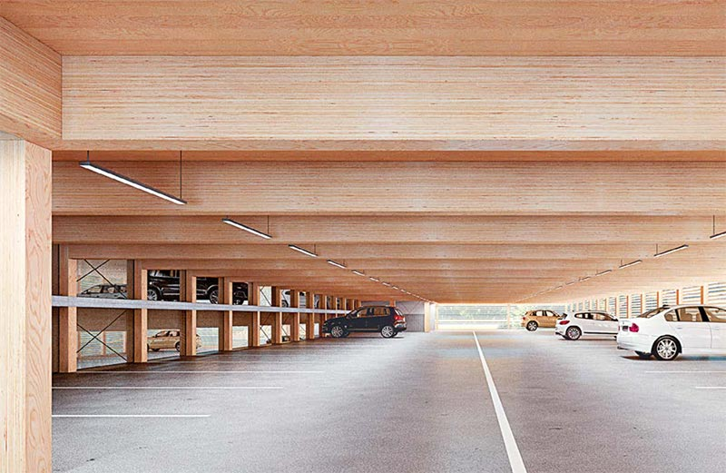 parcheggio in lamellare legno