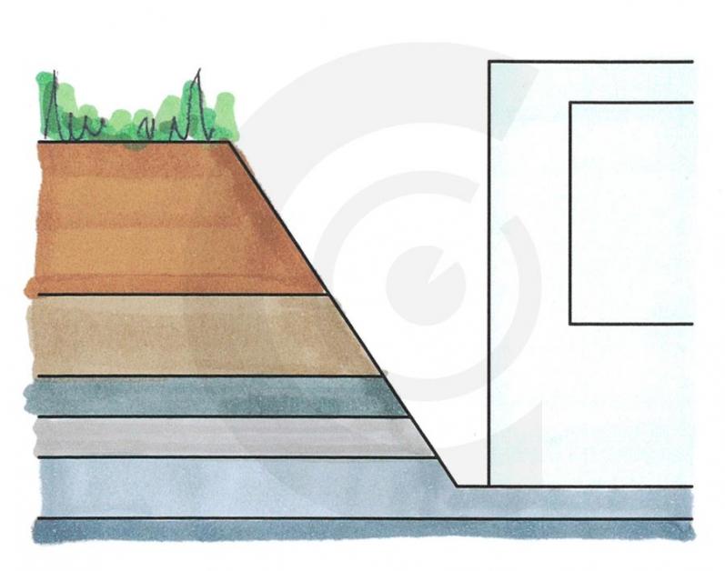 disegno di scavo e fondazione