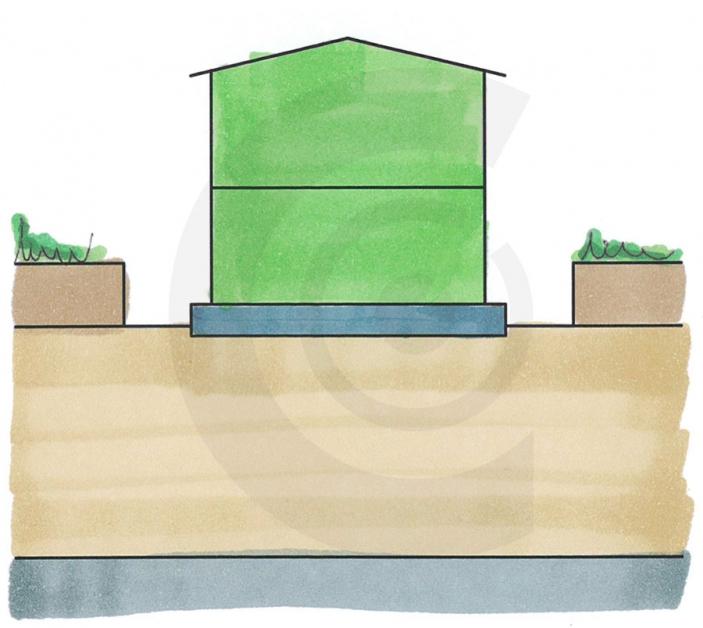 disegno di edificio leggero su platea galleggiante