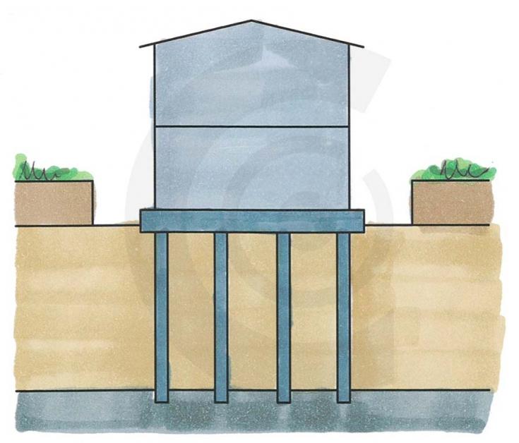 disegno di edificio pesante su fondazione in cemento