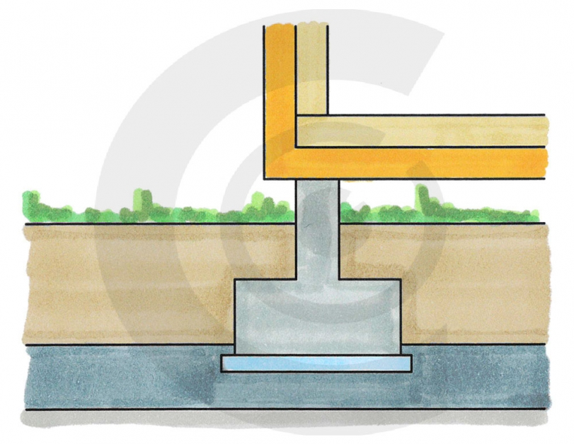 disegno rialzo base casa in legno