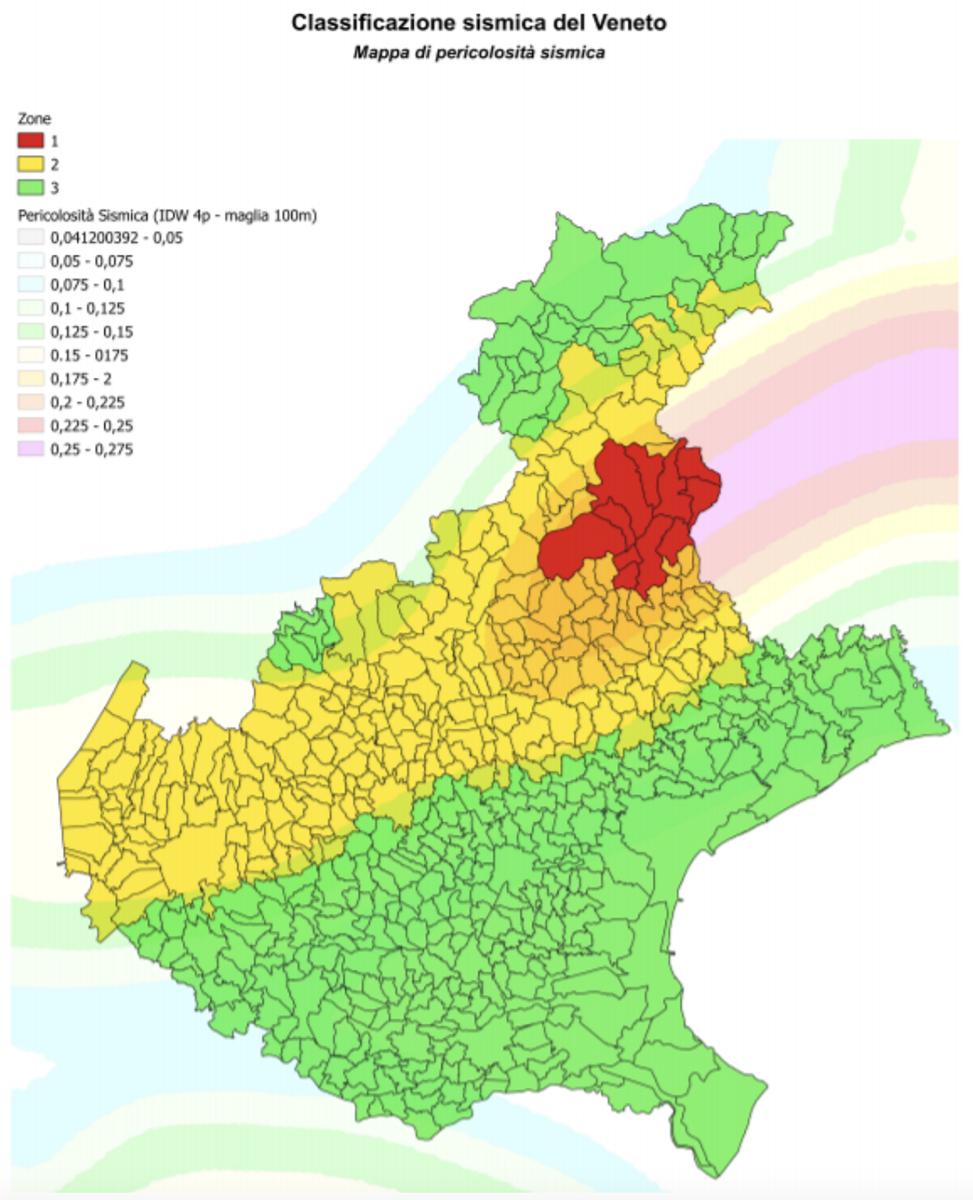 classificazione sismica veneto